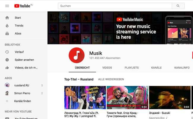 YouTube-Music jetzt auch in Russland verfügbar