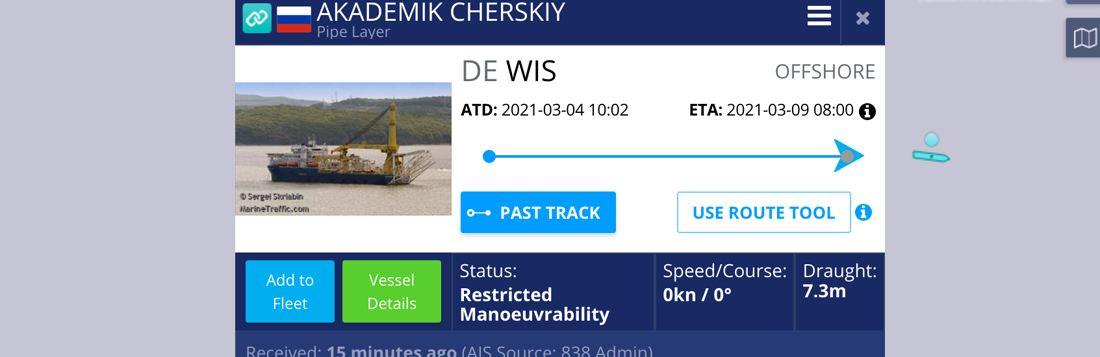 Nord Stream 2: Verlegeschiff Akademik Tschersky auf dem Weg nach Kaliningrad